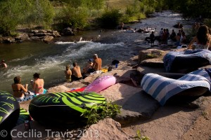 Summer crowd by Clear Creek, Golden
