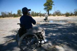 Photographing an elephant from a wheelchair. ©Endeavour Safaris